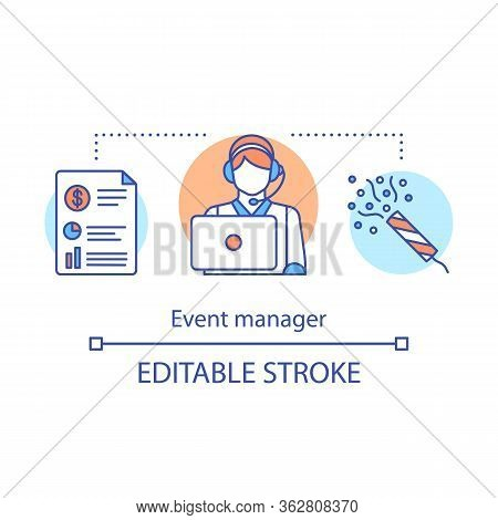 Event Manager Concept Icon. Organization Idea Thin Line Illustration. Responsible Person. Event Agen
