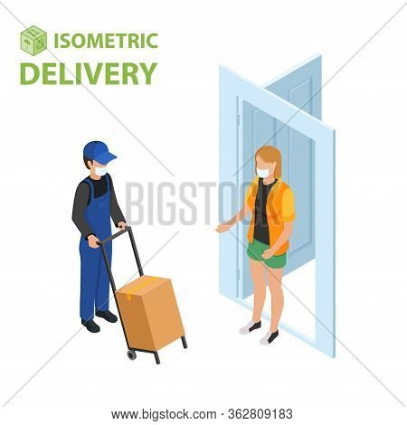 Fast Delivery Flat Isometric Vector Concept. The Courier Stays With The Parcel Near The Door And Giv
