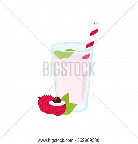 Fresh Lychee Smoothie. Fruit Smoothie In A Glass. Healthy Drink Vector Illustration