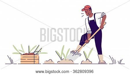 Farmer Digging Up Crop Flat Vector Character. African American Man Gardening Cartoon Illustration Wi