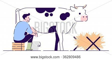 Farmer Milking Cow Flat Vector Character. Livestock, Cattle Agriculture And Animal Husbandry. Dairy