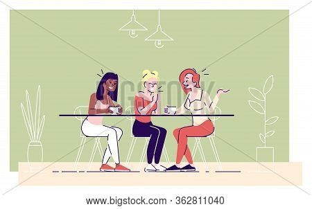 Girls Drink Coffee In Cafe Flat Vector Illustration. Young Ladies Enjoy Tea, Cheerful Women Discussi
