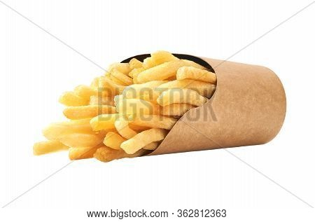 French Fries In A Paper Cup Isolated On White Background.