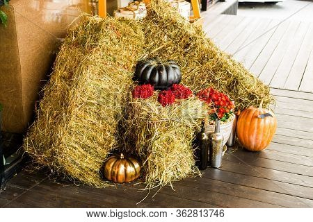 pumpkin and hay for a holiday halloween