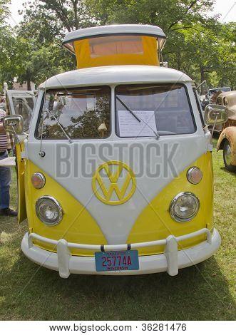 Yellow & White 1966 Vw Camper
