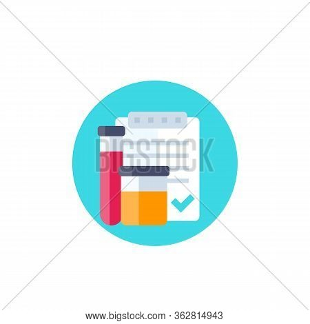 Doping Control, Urine And Blood Test Vector Icon, Eps 10 File, Easy To Edit