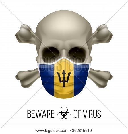 Human Skull With Crossbones And Surgical Mask In The Color Of National Flag Barbados. Mask In Form O