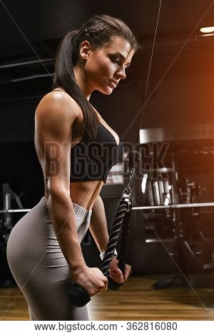 Athletic Woman Doing Triceps In The Block, Hand Exercises. The Girl In A Comfortable Tracksuit, Has