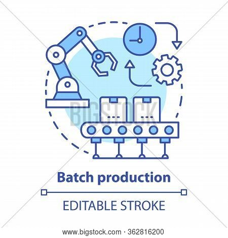 Batch Production Concept Icon. Manufacturing Method Idea Thin Line Illustration. Mass Production Pro