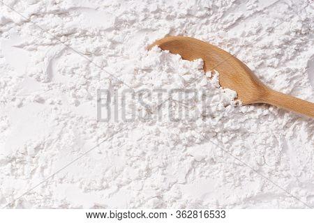 Background Of Corn Starch Flour Powder Texture Close-up.