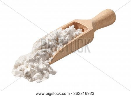 Scoop With Corn Starch Isolated On A White Background.