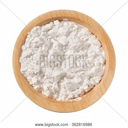 Wooden Plate With Potato Starch Isolated On A White Background. Top View.