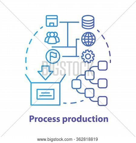 Process Production Blue Concept Icon. Manufacturing Operations Management Idea Thin Line Illustratio