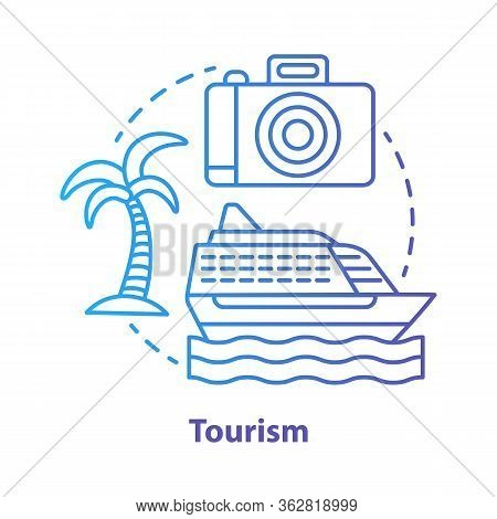 Tourism Blue Concept Icon. Hospitality Industry Idea Thin Line Illustration. Journey, Travel. Touris