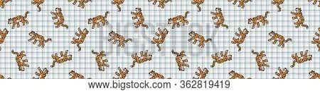 Cute Two Tiger Seamless Vector Border. Hand Drawn Striped Big Cat For Safari Jungle Illustration. Be