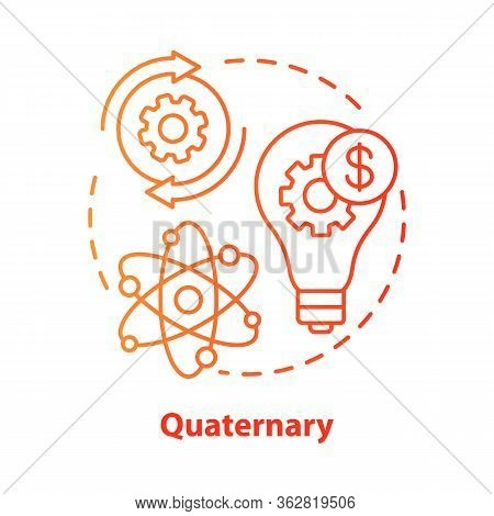 Quaternary Red Concept Icon. Knowledge Sector Idea Thin Line Illustration. Information-based Service