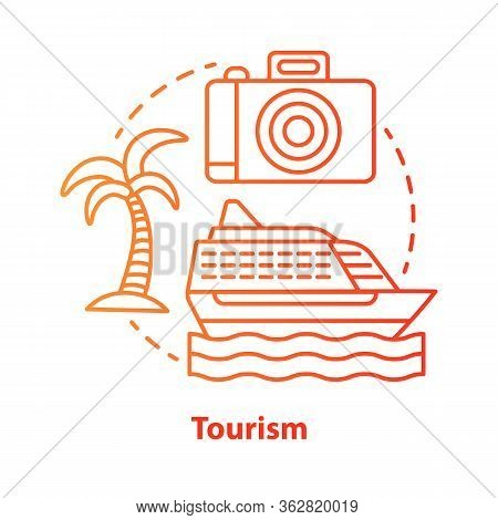 Tourism Red Concept Icon. Hospitality Industry Idea Thin Line Illustration. Journey, Travel. Tourist