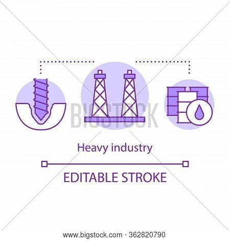 Heavy Industry Concept Icon. Processing And Manufacturing Idea Thin Line Illustration. Industrial Se