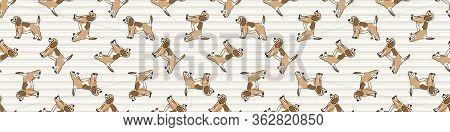 Cute Cartoon Puppy Dog Seamless Vector Border. Hand Drawn Pedigree Kennel Doggie Breed For Dog Lover