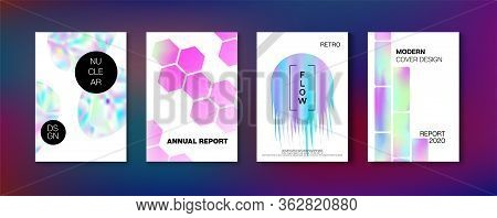 Holographic Gradient Vector Background. Hologram Business Soft Covers Set. Fluid Holo Bright Trendy