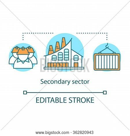 Secondary Sector Concept Icon. Processing And Manufacturing Industry Idea Thin Line Illustration. In