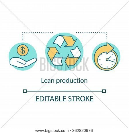 Lean Production Concept Icon. Manufacturing Method Idea Thin Line Illustration. Waste Minimization A