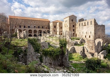 Ruins In Front Of Palace Of Despots In Archeological Site Of Mystra Near The Mystras City, Greece, E
