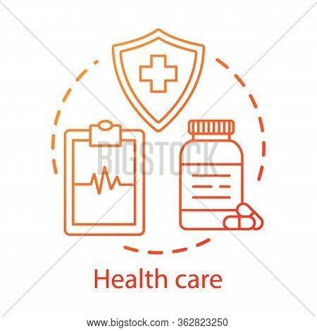 Health Care Concept Icon. Healthcare, Medicine. Therapeutic Services. Medical Insurance, Examination