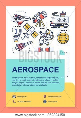 Aerospace Industry Poster Template Layout. Cosmos, Space Exploration. Banner, Booklet, Leaflet Print