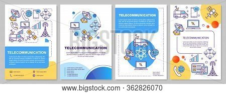 Telecommunication Industry Template Layout. Flyer, Booklet, Leaflet Print Design With Linear Illustr