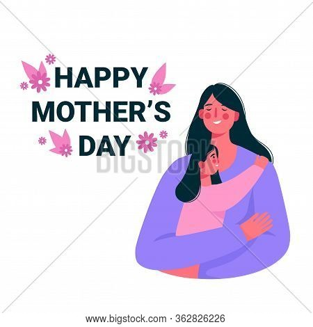 Happy Smiling Mother And Daughter. Mother Hug Daughter With Love And Holding Her In Arms. Happy Moth