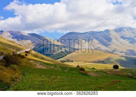 National Park of the Sibillini Mountains. Fields in Castelluccio di Norcia, Umbria, Italy. October 2019.