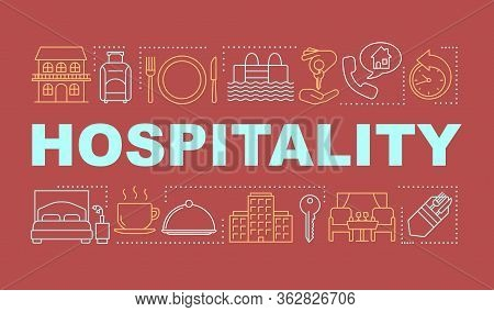 Hospitality Word Concepts Banner. Lodging Industry. Restaurant And Hotel Service. Presentation, Webs
