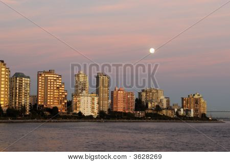 North Vancouver Waterfront Buildings At Moonrise