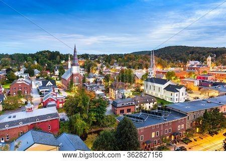 Montpelier, Vermont, USA autumn town skyline.