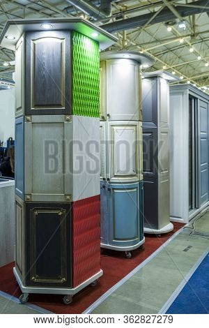 Colored Furniture Facades For Cabinet Cabinets At An Exhibition For Sale To Customers