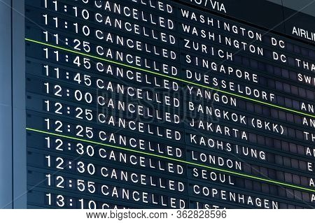 Airport Flight Information Board Showing All Flights Cancelled Flights. Concept Of Extraodinary Even