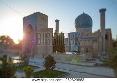 Ancient complex of Gur I Emir in the city of Samarkand at the early morning, Uzbekistan. Natural tilt shift effect (with tilt shift lens)