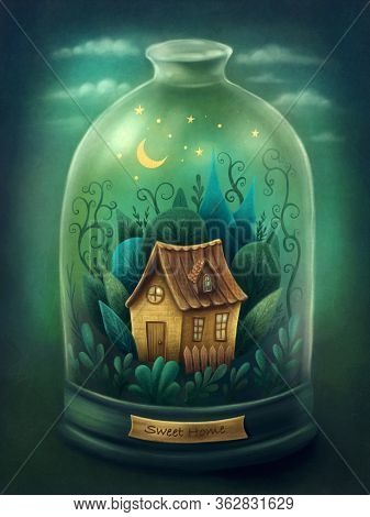 Illustration of a house in forest in bell jar