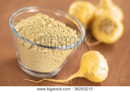 Maca powder (flour) in glass bowl with maca roots or Peruvian ginseng (lat. Lepidium meyenii) (Selective Focus Focus one third into the maca powder) poster
