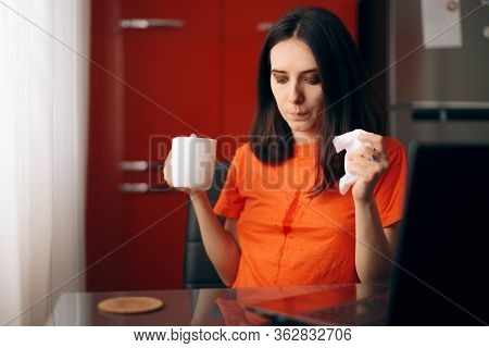 Clumsy Woman Drinking Coffee Staining Her Shirt