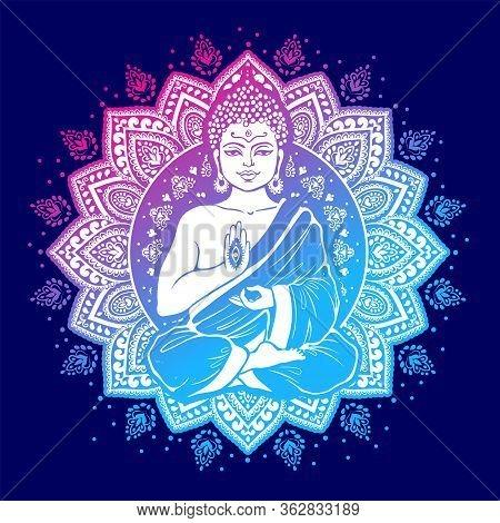 Vintage Vector Illustration Of Meditating Buddha And Mandala