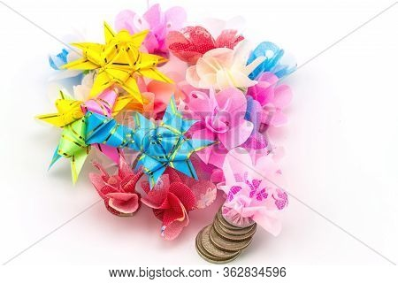 Set Ribbon Folded Into A Flower. Wrap Coins By Hand. I Worked For The Sacred(ordination ,matriculati