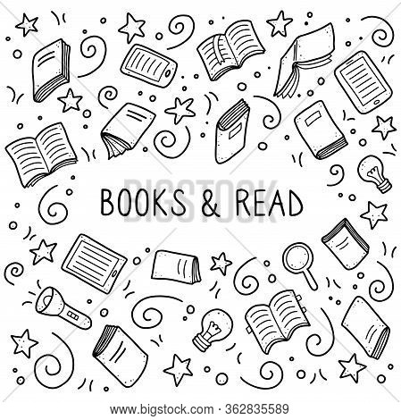 Hand Drawn Set Of Book Doodle Elements, Education Symbols. Vector Illustration For Book Store, Readi