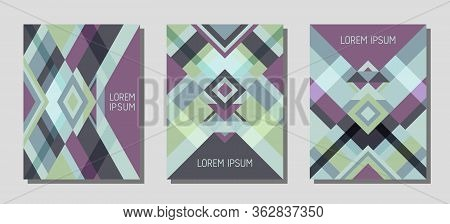Set Of Cover Page Layouts, Vector Templates Geometric Design With Triangles And Stripes. Folklore Me
