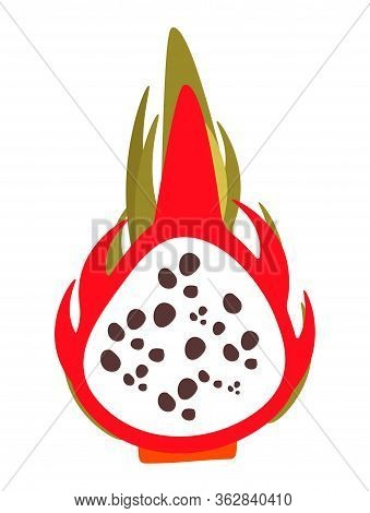 Vector Clip Art Illustration Of Dragon Fruit Or Pataya. Product In A Cut. Beautiful Pattern Of Spott