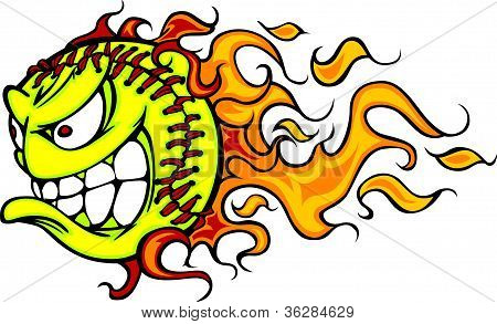 Flaming Fastpitch Softball Face Vector Cartoon