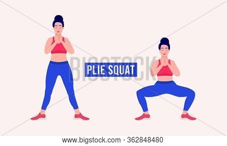 Girl Doing Plie Squat Exercise, Woman Workout Fitness, Aerobic And Exercises. Vector Illustration.