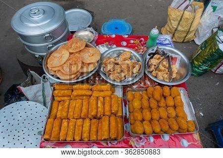 Kolkata, West Bengal, India - 16th December 2018 : Pork Rolls, Potato Pork Chops, Shrimp Poori, Frie