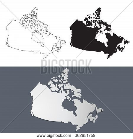 Vector Map Canada In Paper Cut Style. Outline Canada Map. Isolated Vector Illustration